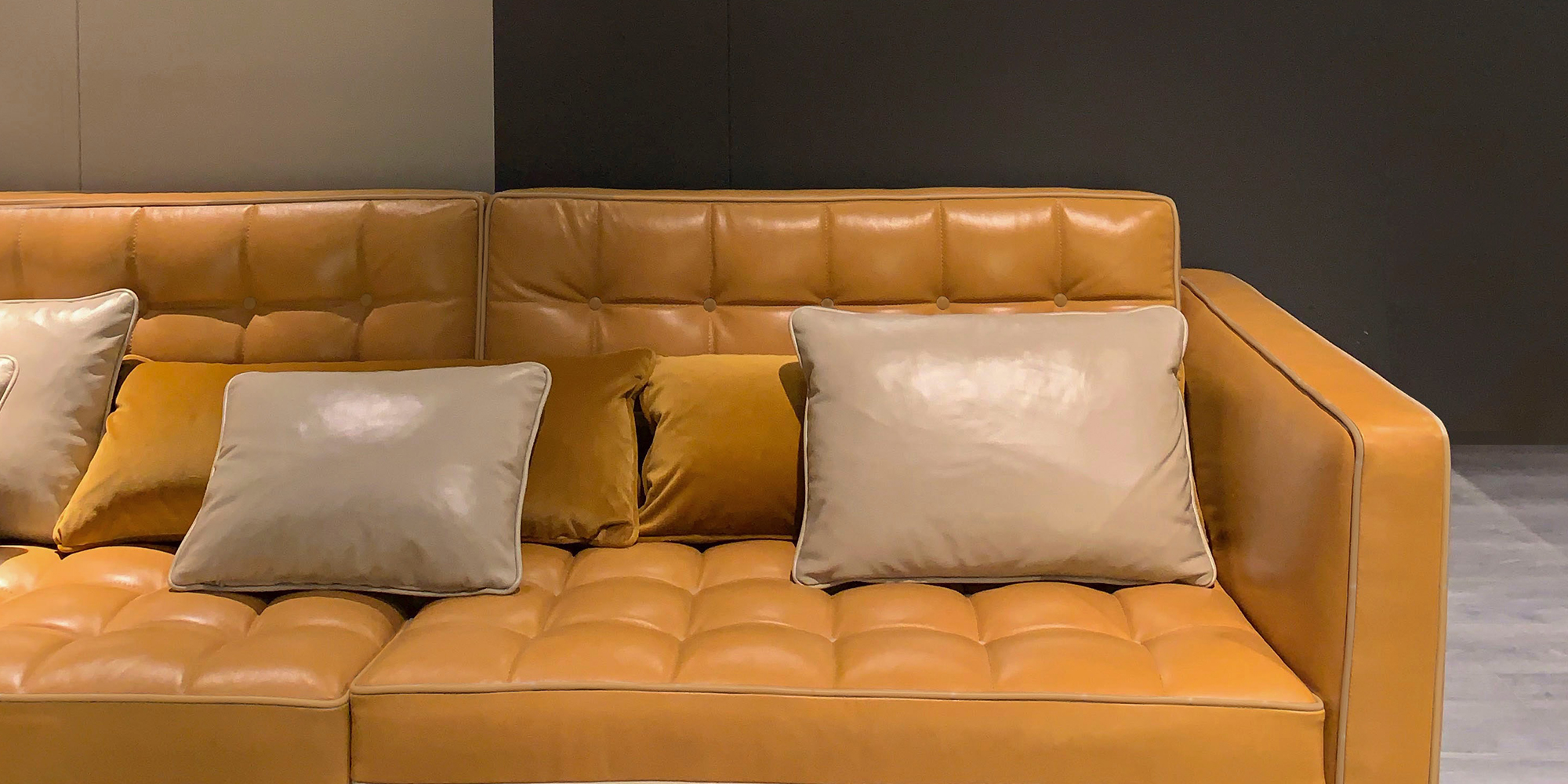 Contemporary Tan Leather Florence Knoll Sofa