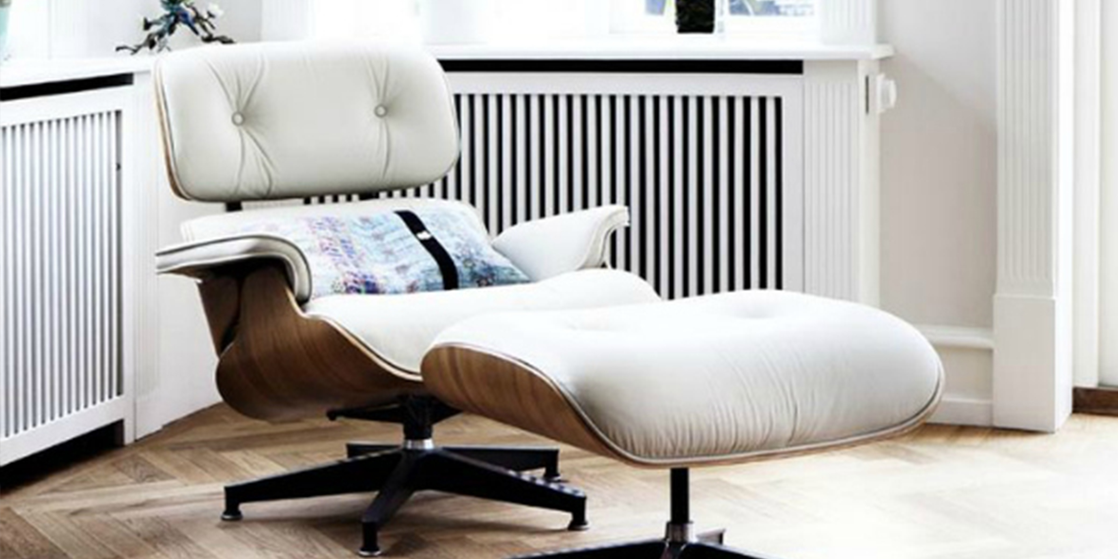White Leather Eames Style Lounge Chair