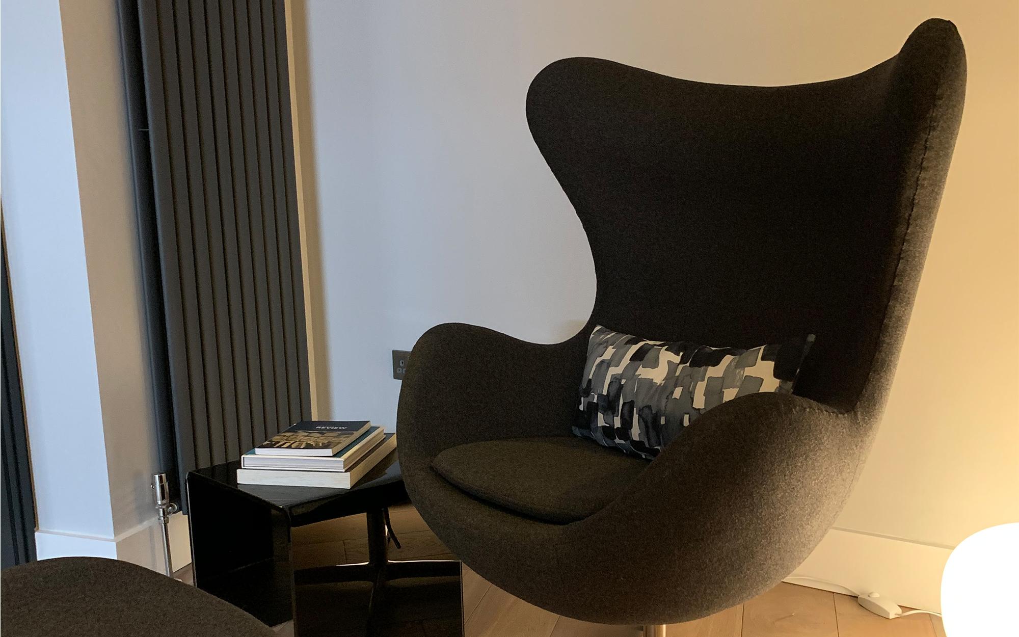 Our Black Egg Chair & Ottoman