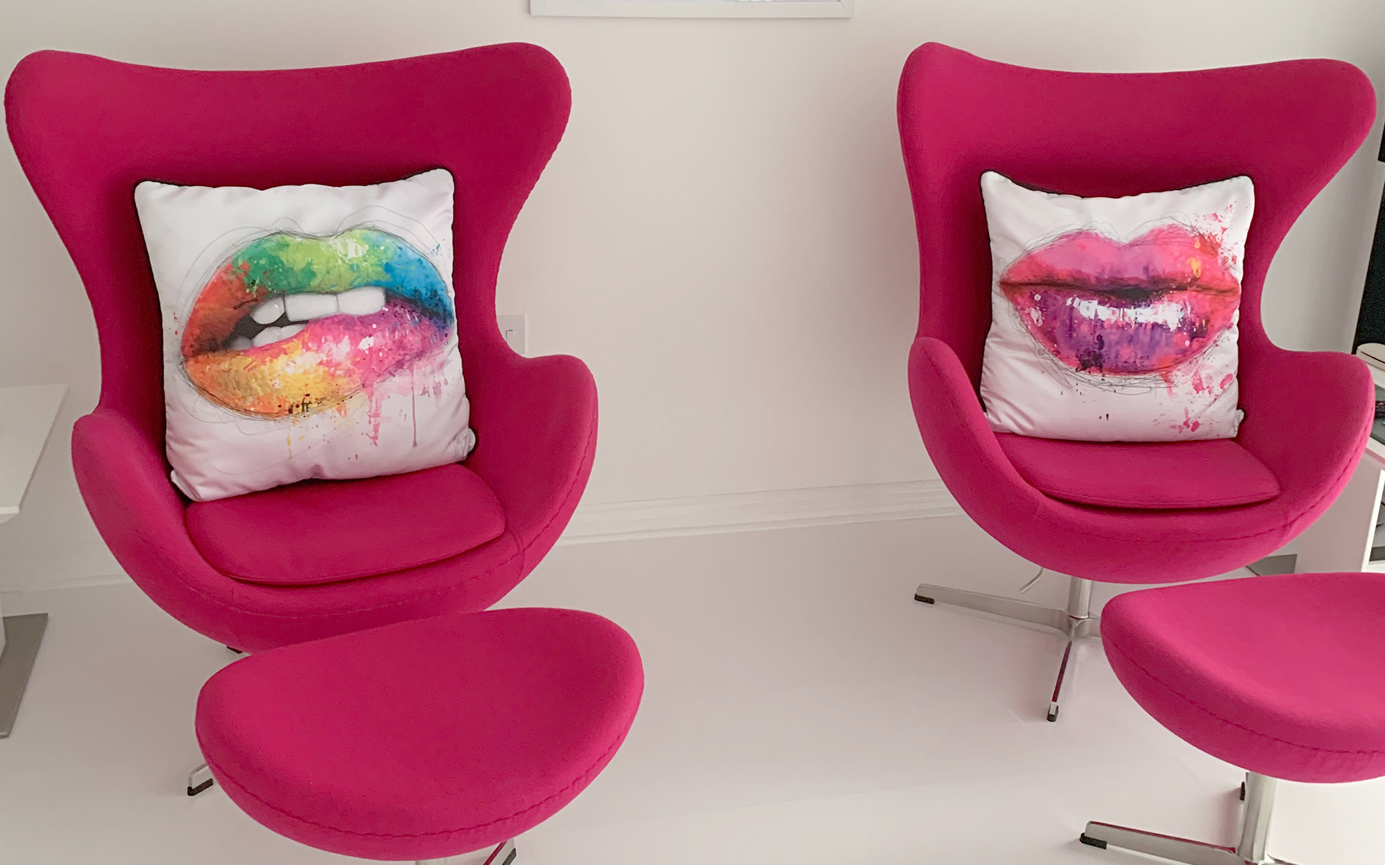 Pink Cashmere Egg Chairs & Ottomans