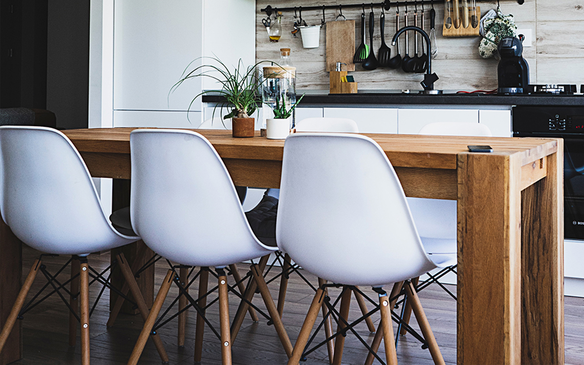 Scandinavian Inspired Dining Room Using Eames DSW Chairs