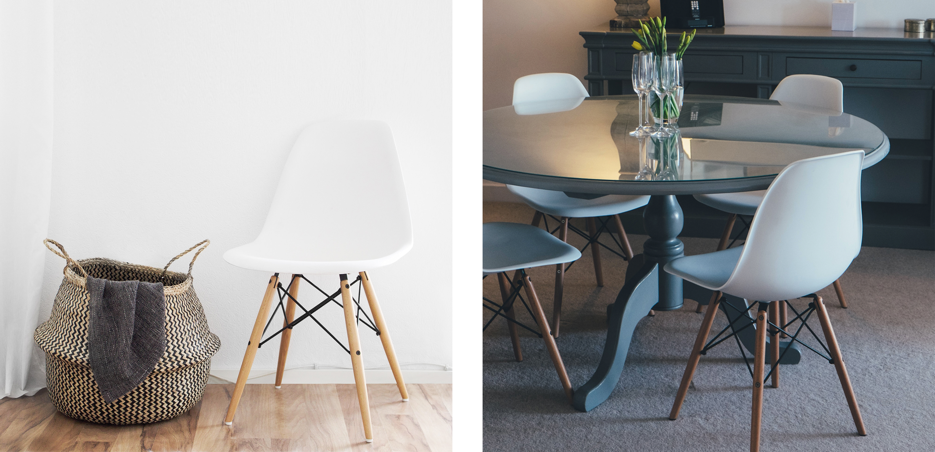 Eames DSW Chairs In White Used In Different Interiors