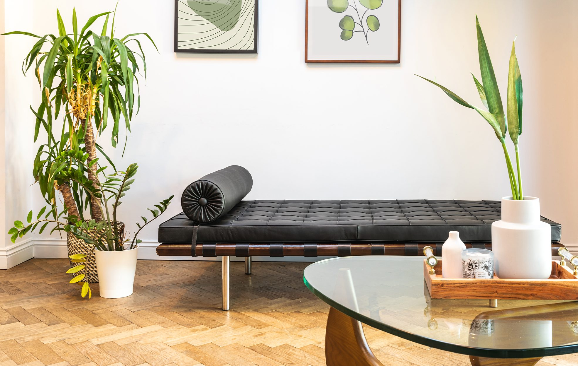 Barcelona Style Daybed & Noguchi Style Coffee Table