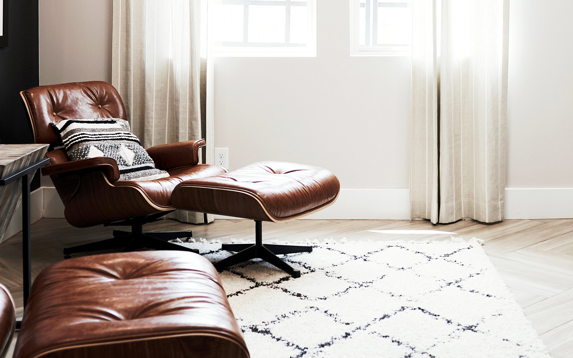 Eames Style Lounge Chair Brown Leather