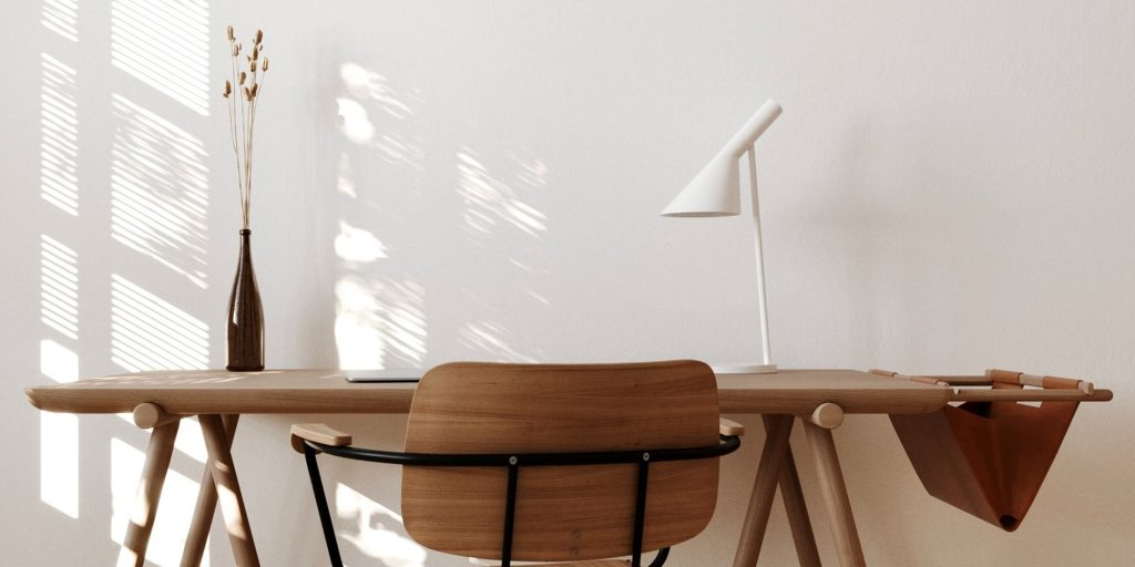 Neutral Home Office Featuring an AJ Desk Lamp in White
