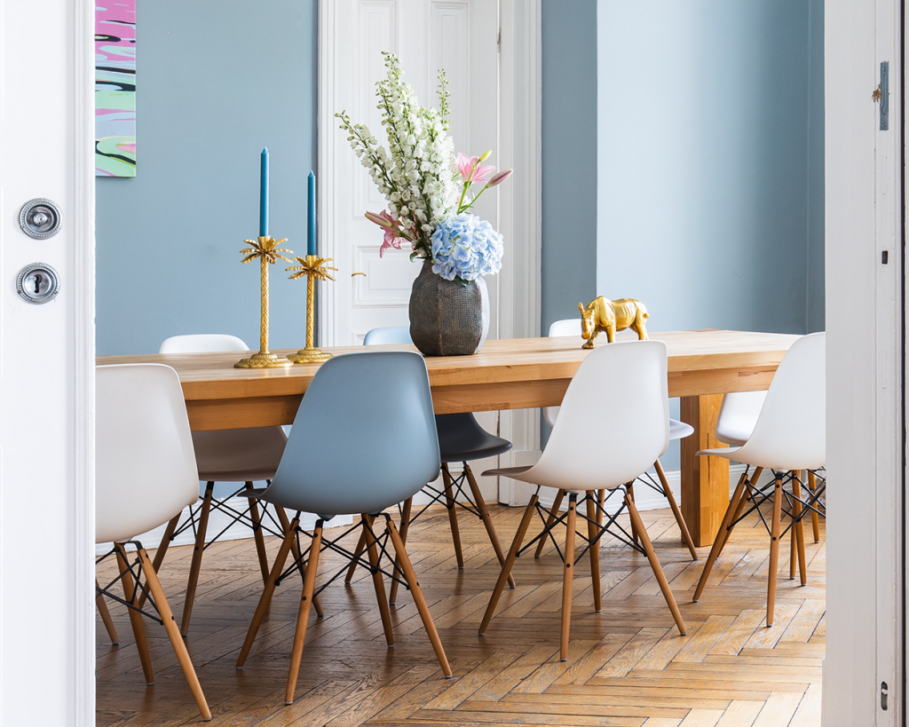 Dining room featuring DSW Chairs. Spring and Summer organic colours.