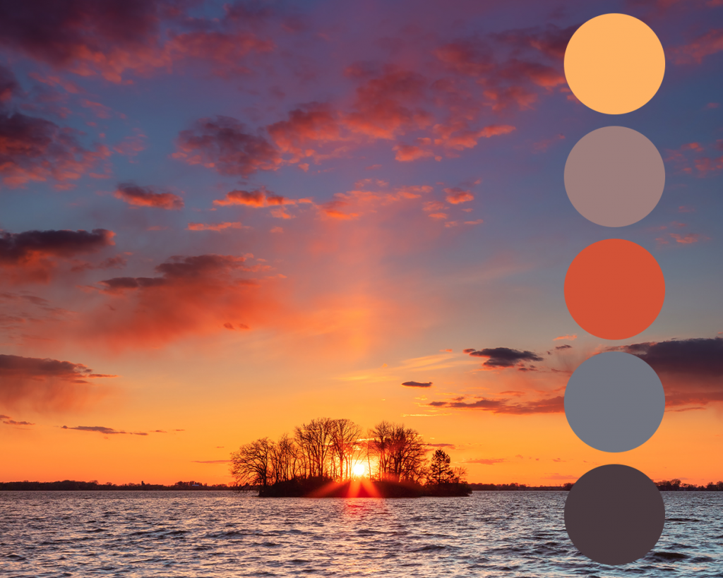 Photograph of a sunset with the colour palette taken from the image.