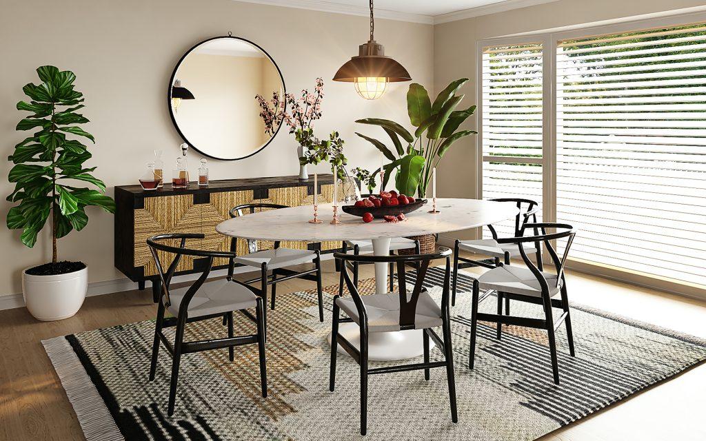 Dining room featuring an Eero Saarinen Tulip Table